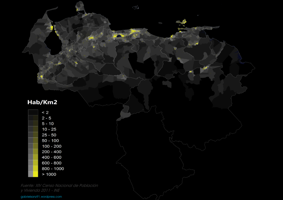 Venezuela population density 2011