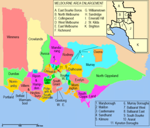 Electoral districts of Victoria - Image: Victorian Legislative Assembly districts 1859 1877