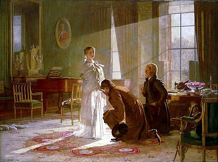 Victoria receives the news of her accession from Lord Conyngham (left) and the Archbishop of Canterbury. Engraving after painting by Henry Tanworth Wells, 1887