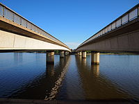 The two halves of Commonwealth Avenue Bridge, Canberra