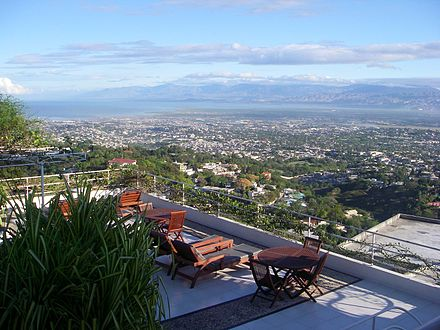 General view of Port-au-Prince and bay views from the terrace of the Hotel Montana in Petion-Ville in 2007. View of Port-au Prince from Hotel Montana2.jpg