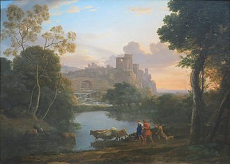 Staffage - View of Tivoli at Sunset, 1644, with cows and cowherds as staffage, by Claude Lorrain.