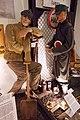 WW2 Nazi Germany railway slave labour Deutsche Reichsbahn Kraftwagengüterstelle Polar Eisenbahn Ost Bahn Soviet Ukrainian POW foot chain prisoners quilted uniform Budenovka shovel etc Lofoten Krigsminnemuseum Norway 2019 DSC00109.jpg