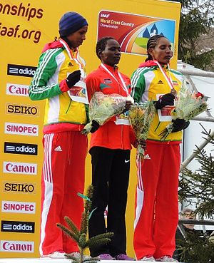 Belaynesh Oljira - Image: WXC2013 senior women podium