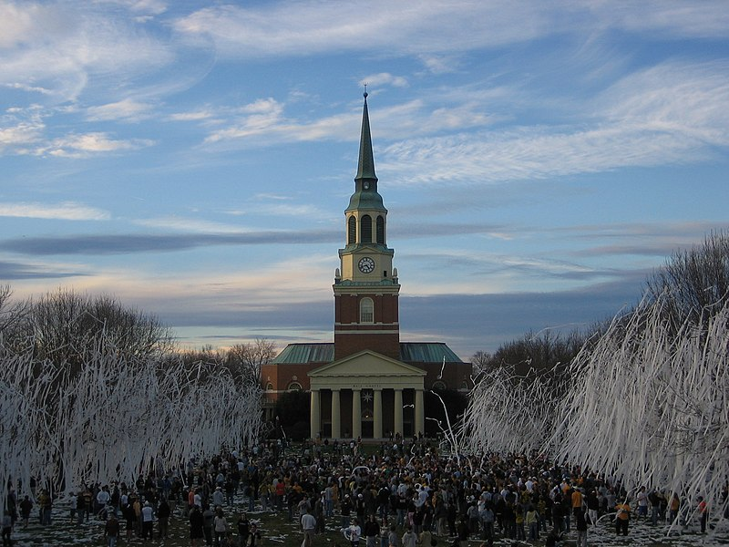 """Rolling the Quad"" is a WFU tradition that is done after major victories in athletic competition. WakeForestRolledQuad.jpg"
