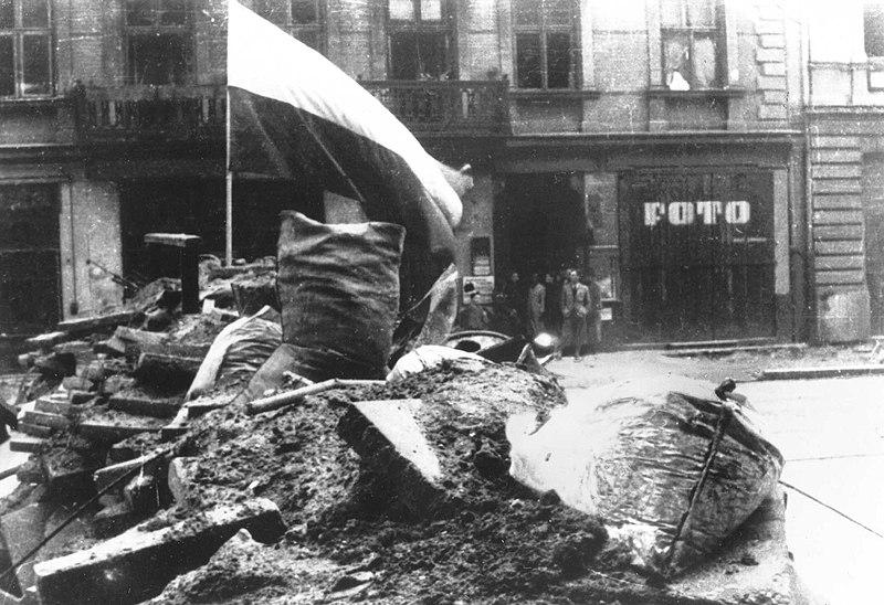 File:Warsaw Uprising - Barricade & Flag (1944).jpg