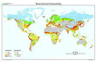 World Map Indicating Areas That Are Vulnerable To High Rates Of Water Erosion