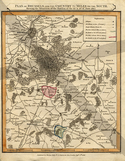 An 1816 map showing the local geography, with Waterloo defending the approach to Brussels Waterloo.1816.02.jpg