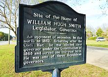 Plaque indiquant le site de l'ancienne demeure de William H. Smith.