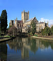 Wells Cathedral in the reflecting pool in the grounds of the Bisops Palace crop.jpg