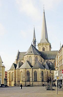 Willibrordi-Dom in Wesel. The cathedral, dedicated to St Willibrord, has been restored after wartime bombing.
