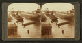 Whaleback freighters of ore and grain in canal, Sault St. Marie, Mich, from Robert N. Dennis collection of stereoscopic views.png