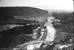 Lackawanna Cut-Off - A May 1909 view of the Wharton Fill looking east from atop Roseville Tunnel, 10 months into construction.