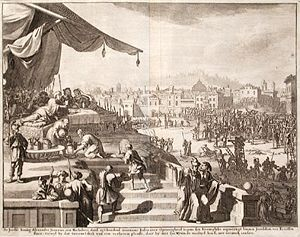Alexander Jannaeus - Alexander Jannaeus feasting during the crucifixion of the Pharisees, engraving by Willem Swidde, seventeenth century