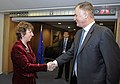 William J. Lynn III shakes hands with Catherine Ashton at the union's building in Brussels, Belgium, Jan. 25, 2011..jpg