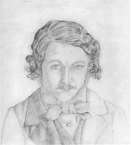 William Morris self-portrait, 1856; Morris grew his beard that year, after leaving university. William morris self-portrait 1856.jpg