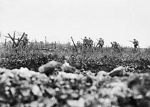 British Army during World War I - Men of the Wiltshire Regiment attacking near Thiepval, 7 August 1916, during the Battle of the Somme. Photo taken by Ernest Brooks.