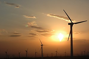 English: Wind power plants in Xinjiang, China ...