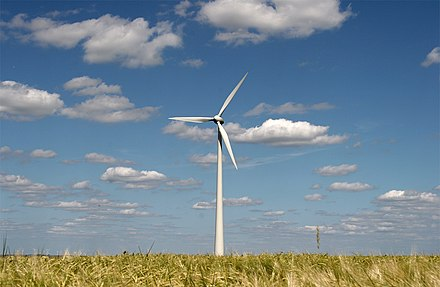 This wind turbine generates electricity from wind power. Windenergy.jpg