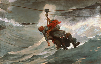 Breeches buoy - The Life Line, by Winslow Homer, 1884, depicts a breeches buoy in use during a rescue operation.
