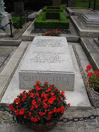 St Martin's Church, Bladon - Winston and Clementine Churchill's grave after restoration in 2006