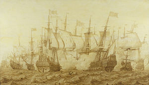 """The Battle of the Gabbard, 12 June 1653"" by Heerman Witmont, shows the Dutch flagship Brederode, right, in action with the English ship Resolution, the temporary name during the Commonwealth of HMS Prince Royal."