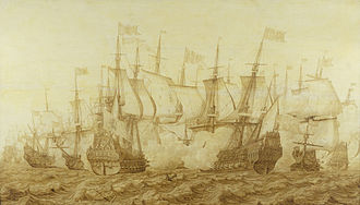 First Anglo-Dutch War - The Battle of the Gabbard, 12 June 1653 by Heerman Witmont, shows the Dutch flagship Brederode, right, in action with the English ship Resolution, the temporary name during the Commonwealth of HMS Prince Royal.