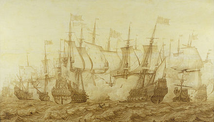 The Battle of the Gabbard, 12 June 1653 by Heerman Witmont, shows the Dutch flagship Brederode, right, in action with the English ship Resolution, the temporary name during the Commonwealth of HMS Prince Royal. Witmont, Battle of the Gabbard.jpg