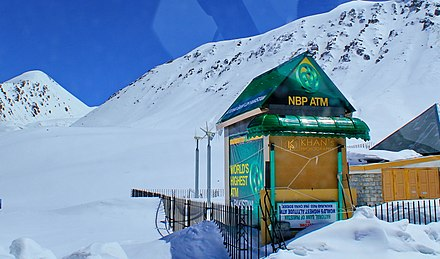 The world's highest ATM, located at the Khunjerab Pass in Pakistan. World's Highest ATM.jpg
