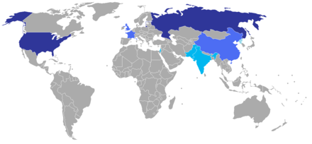 Large stockpile with global range (dark blue), smaller stockpile with global range (medium blue), small stockpile with regional range (light blue). World nuclear weapons.png