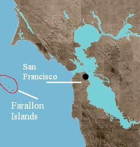 Map showing the location of Farallon National Wildlife Refuge