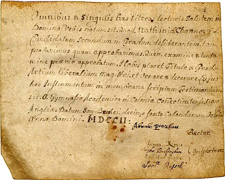 First diploma awarded by Yale College, granted to Nathaniel Chauncey, 1702 Yale College diploma Nathaniel Chauncey 1702.jpg