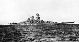 Yamato-class battleship - Image: Yamato sea trials 2