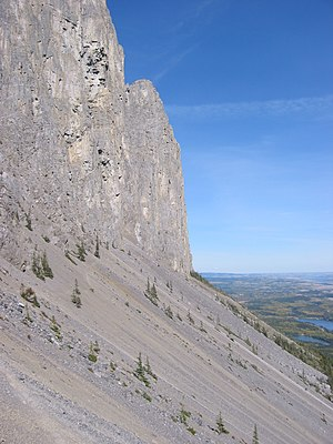 Scree - Talus at the bottom of Mount Yamnuska, Alberta, Canada.