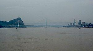 Yiling Yangtze River Bridge - Seen from downstream
