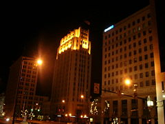 Downtown Youngstown at night