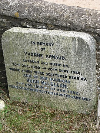 Yvonne Arnaud - Yvonne Arnaud's memorial in the churchyard of St. Martha's on the Hill