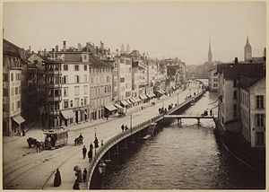 Limmatquai - Limmatquai as seen from Central around the 1880s