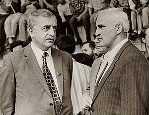 Zviad Gamsakhurdia - Leaders of Georgian independence movement in late 80s, Zviad Gamsakhurdia (left) and Merab Kostava (right)