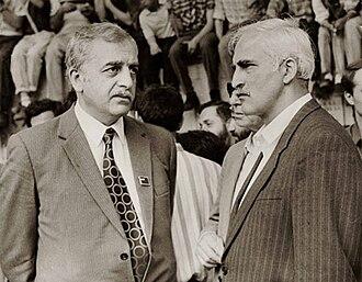 Zviad Gamsakhurdia - Leaders of Georgian independence movement in late 80s, Zviad Gamsakhurdia (left) and Merab Kostava (right)