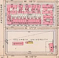 """""""COLUMBIA UNIVERSITY"""" """"LABORATORY"""" map in 1916, from- Bromley Manhattan Plate 133 publ. 1916 (cropped).jpg"""