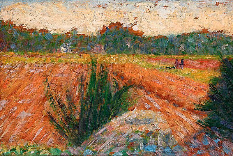 File:'Field in Barbizon' by Georges Seurat, circa 1882.jpg
