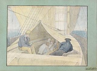 (Aspecto tirado a bordo da fragata Áustria em sua viagem para o Rio de Janeiro em 9 de abril de 1817 vendo-se entre outros passageiros, Spix e Martius)