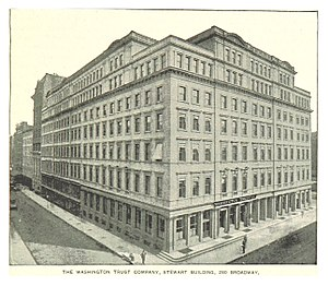 280 Broadway - Image: (King 1893NYC) pg 773 THE WASHINGTON TRUST COMPANY, STEWART BUILDING, 280 BROADWAY