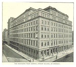 280 Broadway - Image: (King 1893NYC) pg 773 THE WASHINGTON TRUST COMPANY, STEWART BUILDING, 280 BROADWAY