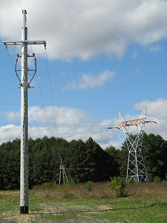 Overhead power line - High- and medium-voltage power lines in Łomża, Poland