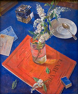 Fine Arts of Leningrad (Moscow, 1976) - K. Petrov-Vodkin. Bird Cherry in glass. 1932