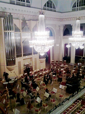 Leningrad première of Shostakovich's Symphony No. 7 - The modern stage of the Grand Philharmonia Hall, where the concert was performed