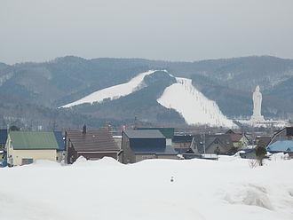 Dai Kannon of Kita no Miyako park - City of Ashibetsu with the statue in the background
