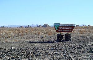 National Natural Landmark - The Trona Pinnacles with National Natural Landmark sign